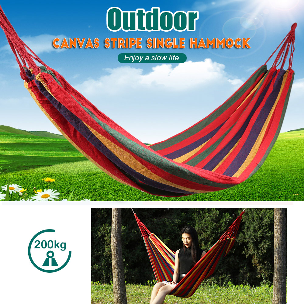 190 X 80cm Portable Outdoor Hammock Garden Sports Swing Canvas Stripe Hang Bed Hammock With Backpack For Home Travel Camping Year-End Bargain Sale