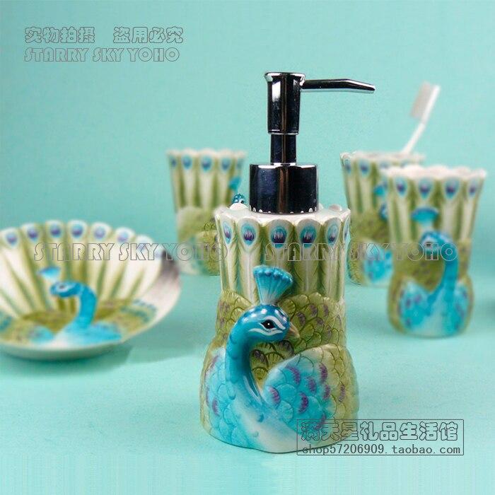 ceramic peacock toothbrush holder soap dish bathroom accessories set ...