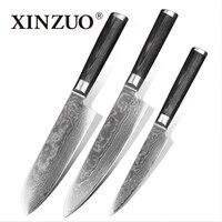Xinzuшт. o 3 шт. набор кухонных ножей дамасский кухонный бритва с одним лезвием острый японский шеф повар для очистки овощей Santoku нож деревянная