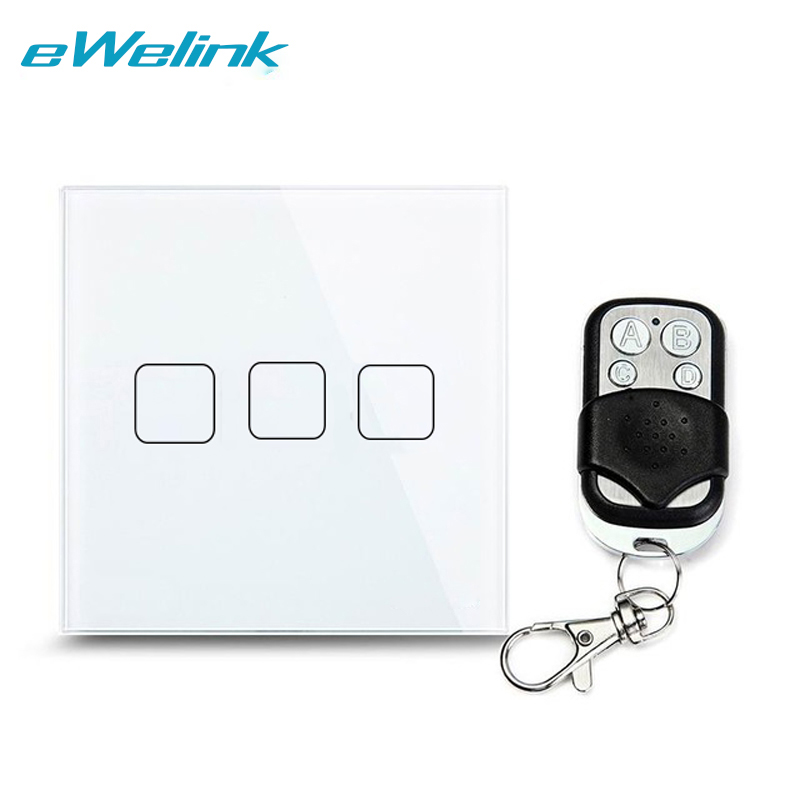 eWelink EU/UK Standard, 3 Gang 1 Way Wireless Remote Control Light Switches,RF433 Remote Wall Light Touch Switch For Smart Home eu uk standard 3 gang 1 way wireless remote control wall light switches crystal glass panel remote touch switch for smart home