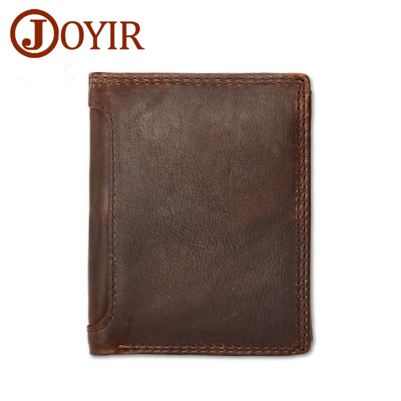JOYIR Vintage Men Genuine Leather Wallet Short Small Wallet Male Slim Purse Mini Wallet Coin Purse Money Credit Card Holder 523 vintage bifold wallet men handbags purse coin money bag male leather credit id card holder billfold purse mini wallet hot sale