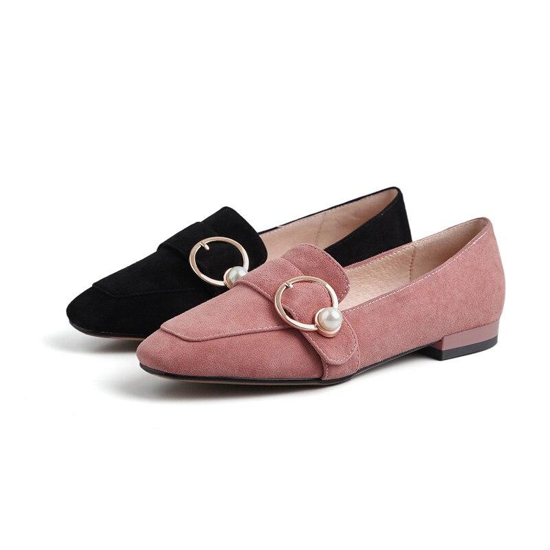 Nouvelle Femme Daim Femmes Chaussures 2019 D'or Slip Perle Flats En Mode Métal Flats Rose Creepers De Anneau Black Ons Boucle pink Mocassins Enfant Moutons Dames T56wq