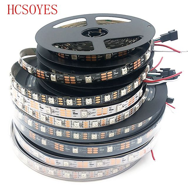 DC 5V 1m/5m/roll ws2812b ws2811ic Built-in 5050 smd rgb strip Individually addressable 30/60/144/m led pixel Black/White PCB