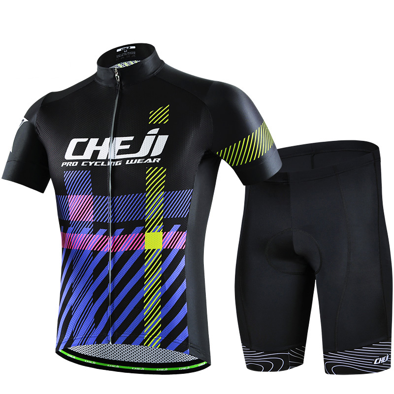 Cheji bicicleta cycling suit men short sleeve sweat absorption black purple cycling racing clothing mtb clothing ropa ciclismo