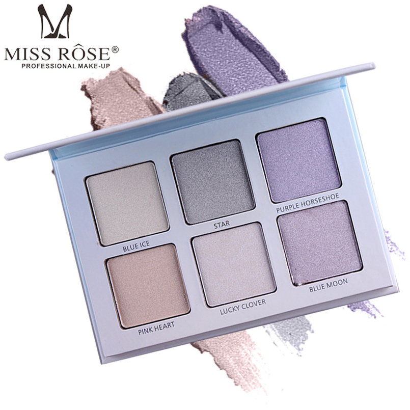 MISS ROSE 6 Colors Shimmer Evidenziatore Palette Olio-controllo di Lunga Durata Highlighter Powder Pro Faccia di Base Make Up Contorno Palette