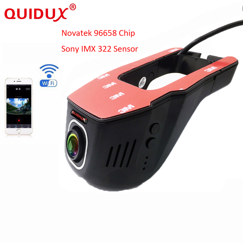 цена на QUIDUX Car DVR Camera Video Recorder WiFi APP Manipulation Full HD 1080p Novatek 96658 IMX 322 Dash Cam Registrator Black Box
