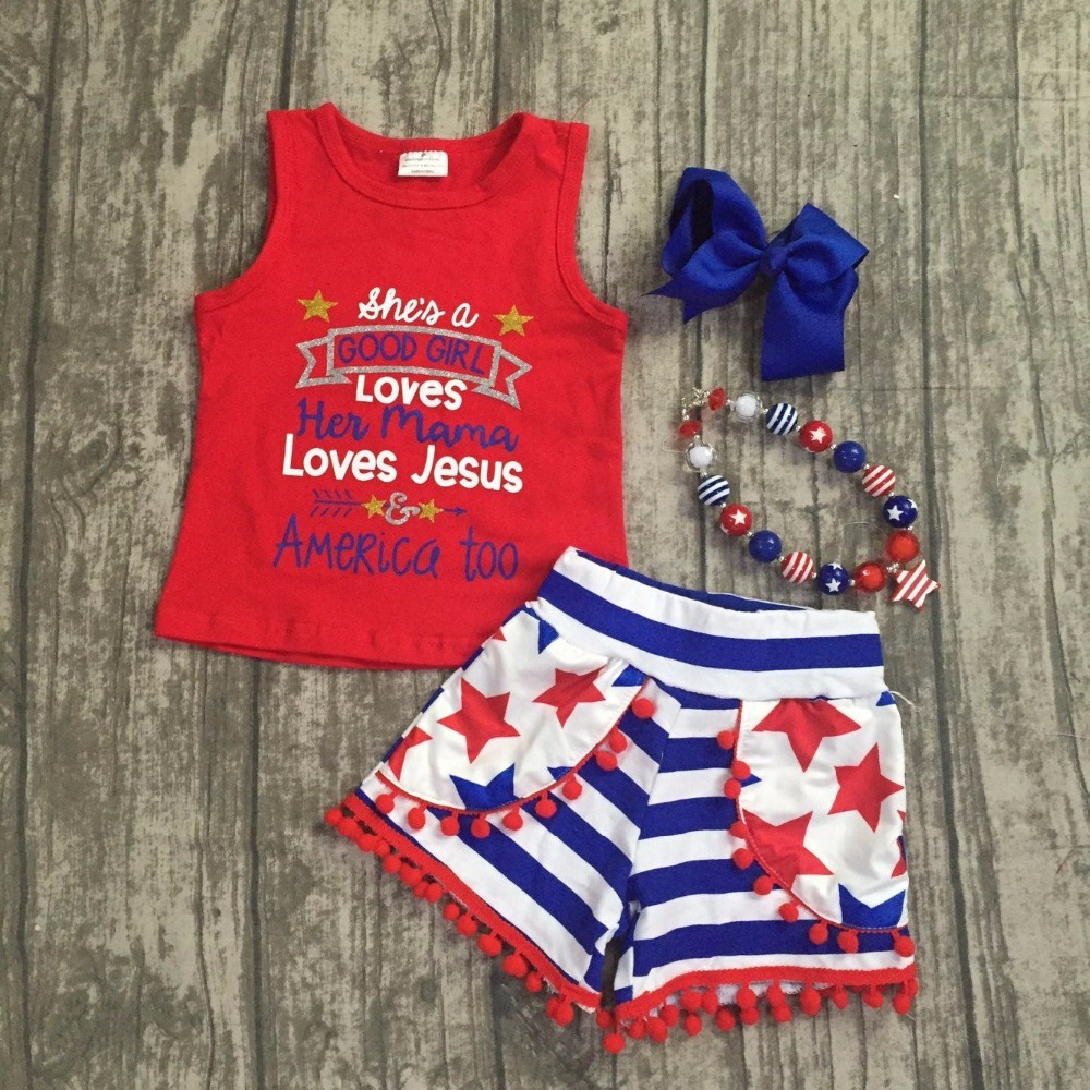 she is a good girl loves her mama love Jesus tank July 4th short set outfits white bule and red patriotic outfit girls clothes 4th july america flag style stripe pettiskirt white ruffle tank top 2pc set 1 8year mamg1143