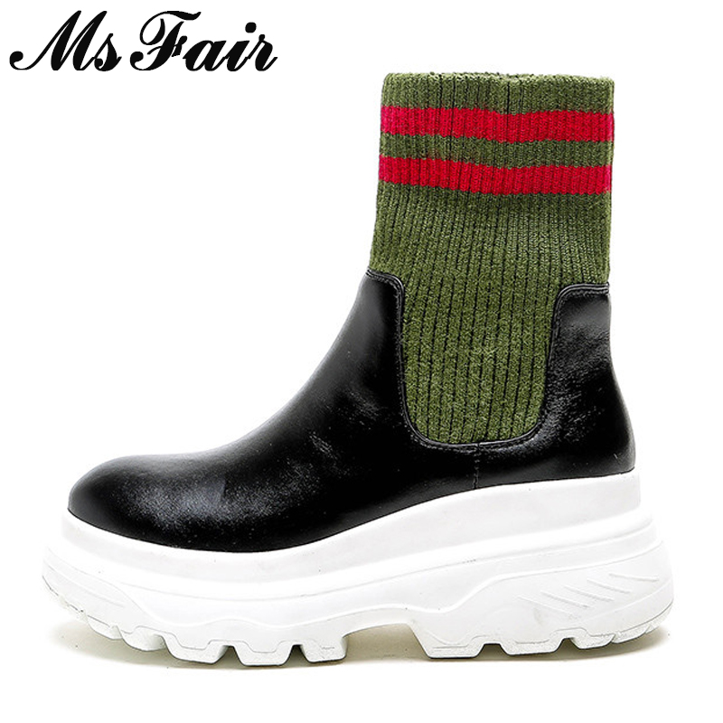 MSFAIR Women Boots 2018 Fashion Mixed Colors Round Toe Flat Ankle Boots Women Shoes Genuine Leather Platform Boot Shoes For Girl