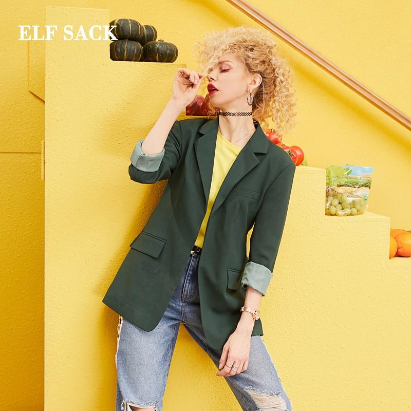 ELF SACK 2019 New Oversized Blazers Woman Full Solid Notched Women Coats Casual Streetwear Femme Blazers