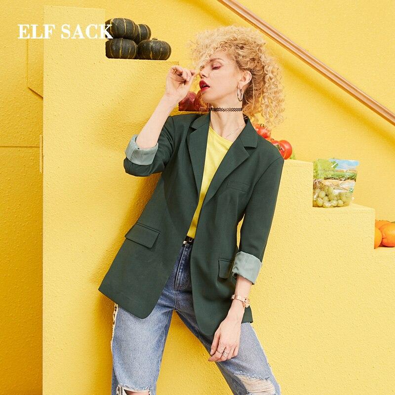 ELF SACK 2019 Nouveau Surdimensionné Blazers Femme Pleine Solide Entaillé Femmes Manteaux décontracté Streetwear Femme Blazers Bureau Dames Blazers