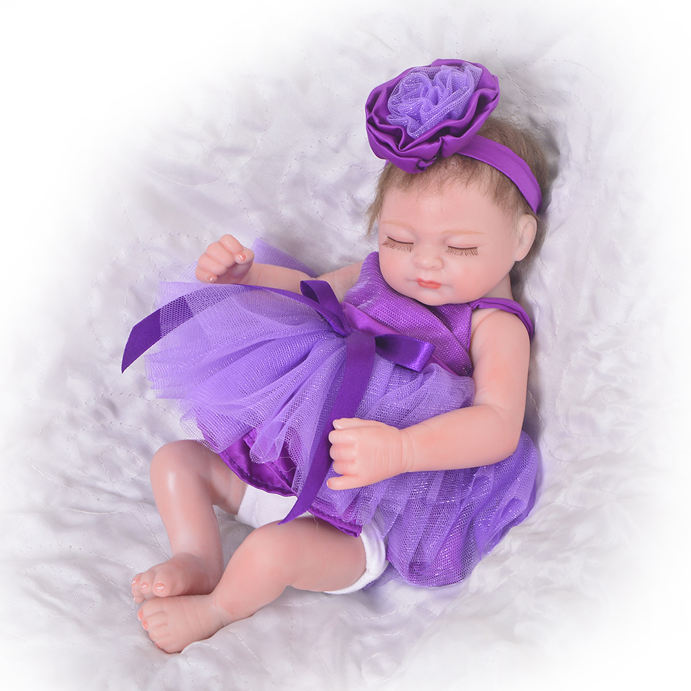 Tiny 10 Inch Sleeping Girl Doll Lifelike Reborn Baby Dolls Full Silicone Vinyl Newborn Babies Toy Kids Birthday Christmas Gift 23 inch girl toys realistic baby doll reborn girls dolls baby full silicone vinyl newborn babies kids birthday christmas gift