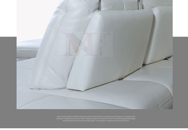 White Leather Sofa Sectional Couch L Shape w/ Stainless Steel Legs 3