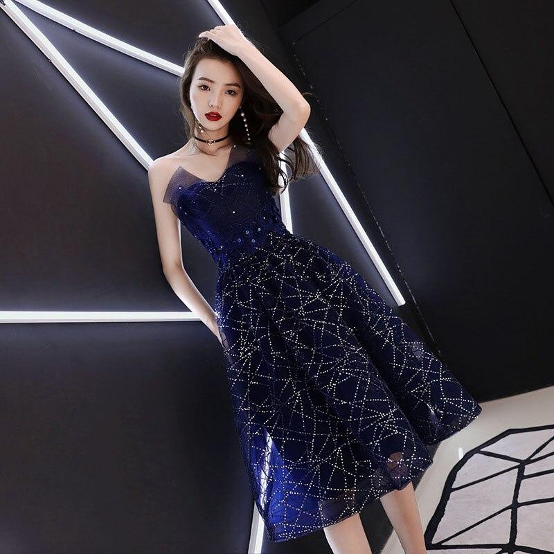 Tube Top Cocktail Dresses Elegant Navy Blue Knee Length Evening Gown Sequins Sexy Women Vestido De Noche  Luxury Robe De Soiree
