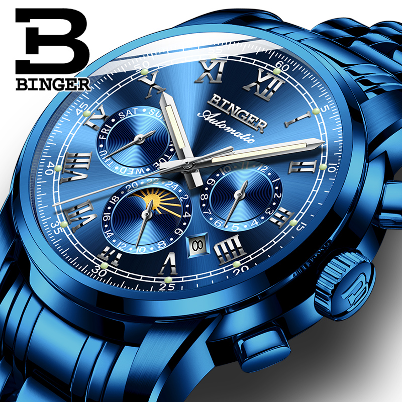 BINGER Mens Moon phases Automatic mechanical Watches Men Top Brand Luxury Dive 30M Business full steel watch Man Luminous 2017 2017 watch mens tourbillon automatic mechanical watches moon phases men top brand luxury business full steel clcok relojes
