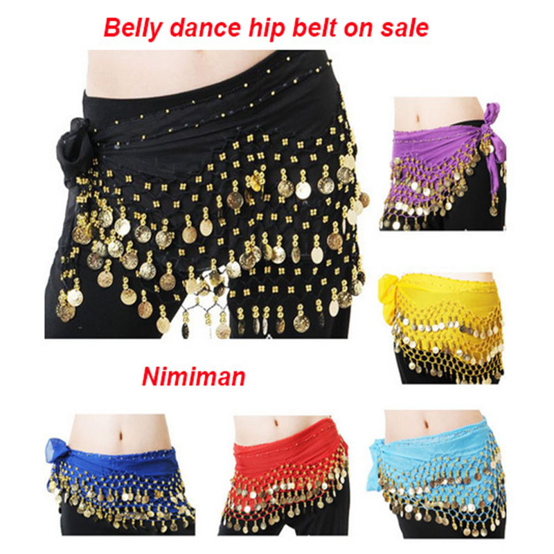 2018 High Quality New Cheap Belly Dancing Costume Hip Belt 128 Coins Belly Dance Waist Scarf for Women 13 Colors Available(China)