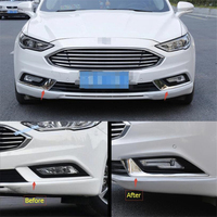 Lapetus Car Styling Front Foglights Fog Lights Lamp Eyelid Eyebrow Cover Trim 2 Pcs / 2 Color For Ford Mondeo / Fusion 2017 2018
