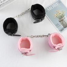 Sexy Adjustable Black pink SM PU Leather Retro Handcuffs fluffy fluff Restraints BDSM Bondage Slave Adult Sex Toys for woman
