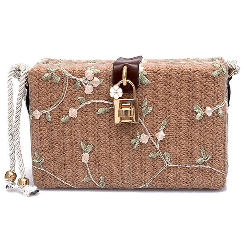 HEBA Summer Beach Handbags Women Messenger Bags Square Straw Hand Woven Ladies Crossbody Bag Shoulder Bags fabric bags shoulder straw summer of women fabric crossbody bags canvas jute beach travel bag