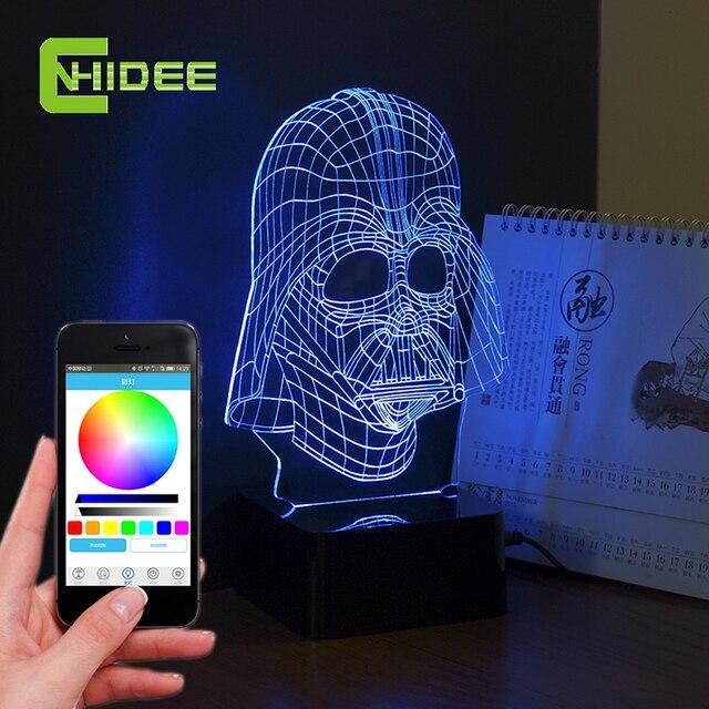 CNHIDEE USB Novelty Darth 3D Light Star Wars Hero Creative LED Bluetooth Music Lampara for Baby Children Besides Nightlight