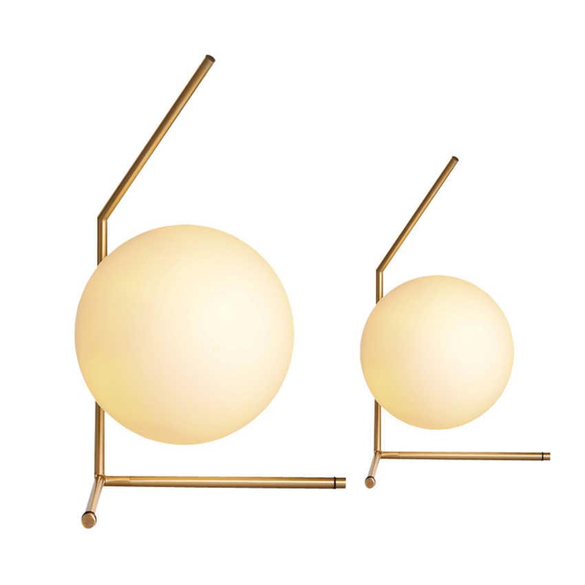 Post-moderna Lampada Da Tavolo A LED Nordic Loft Palla di Vetro Bianco Scrivania Luce Dorata Da Comodino Camera Da Letto Lampade Da Tavolo Indoor Decor lampada da tavolo