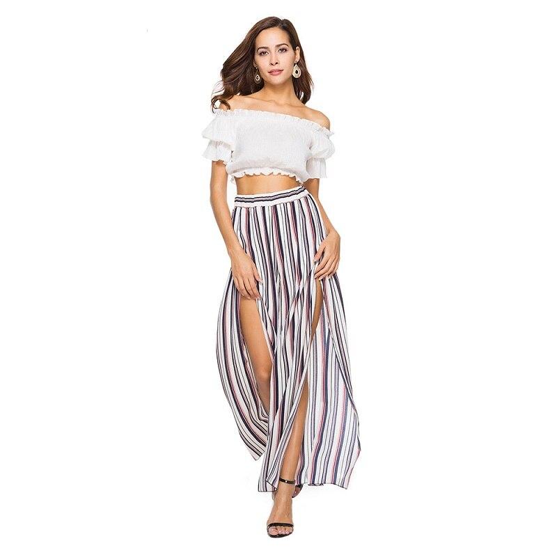 2019 Trousers Women New Striped Print Casual Long Pants Summer Style Elastic Mid Waist Wide Leg Pants Split Beachwear Female
