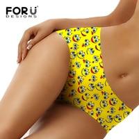 FORUDESIGNS Sexy Panties Kawaii Yellow Emoji Face Style Women Underwear Girls Low Waist Ladies Panties Women