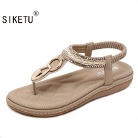 2017 Summer New Women S Fashion Sandals Slope With Casual Comfortable Diamond Beads Women Sandals Size