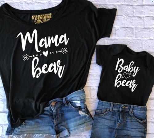 Paar T-Shirt Vrouwen Mama Baby Kids Bear Bijpassende Shirts Familie Kleding Tee Tops Korte Mouwen O neck Brief Gedrukt Hot