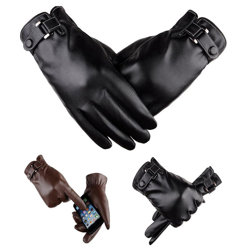 Men's Windproof Waterproof Bicycle Leather Slip Plus Velvet Thickening Hand Gloves Guantes Eldiven Handschoenen 40FE19