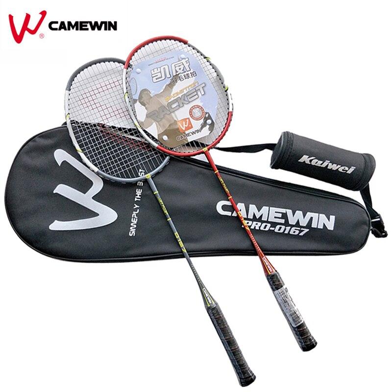 1 paire raquette de Badminton professionnelle en aluminium carbone CAMEWIN raquette de Badminton de haute qualité noir rouge gris (cadeau: 3 balles + 1 sac)
