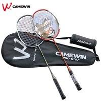 1 Pair Aluminum Carbon Professional Badminton Racket CAMEWIN High Quality Badminton Racquet Black Red Grey Gift