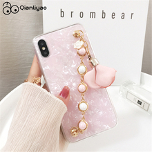 Qianliyao Pearl Bracelet Flower Pendant Phone Cases For iphone X XS MAX XR 6 6s 7 8 plus Case Conch Shell Back Cover