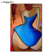 Handmade Big Butt Sexy Girl Oil Painting on Canvas Abstract Blue Skirt Figure Oil Painting for Living Room Decor Wall Art