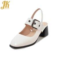 JK Plus Size 43 Pu Material Women S Sandals Female Shoes Buckle Strap Dress Shoes Woman