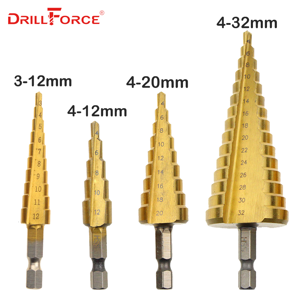 Metal Drill 3-12/4-12/20/32mm Step Drill Bit Spiral Flute HSS Steel Cone Titanium Coated Mini Drill Bit Tool Set Hole Cutter 1pc hss step cone drill bit 1 4 hex shank titanium coated drilling tool for metal wod power tool 3 13mm