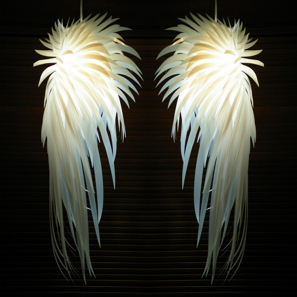 European PVC White Angel Wings Feather Pendant Lights Fixture Modern White Angel Droplight Home Indoor Bedroom Bed Side Lighting modern d40cm foscarini le soleil wave pendant lights white rose suspension pendant lamp european bedroom hanginglamp e27 fixture