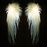 European PVC White Angel Wings Feather Pendant Lights Fixture Modern White Angel Droplight Home Indoor Bedroom Bed Side Lighting