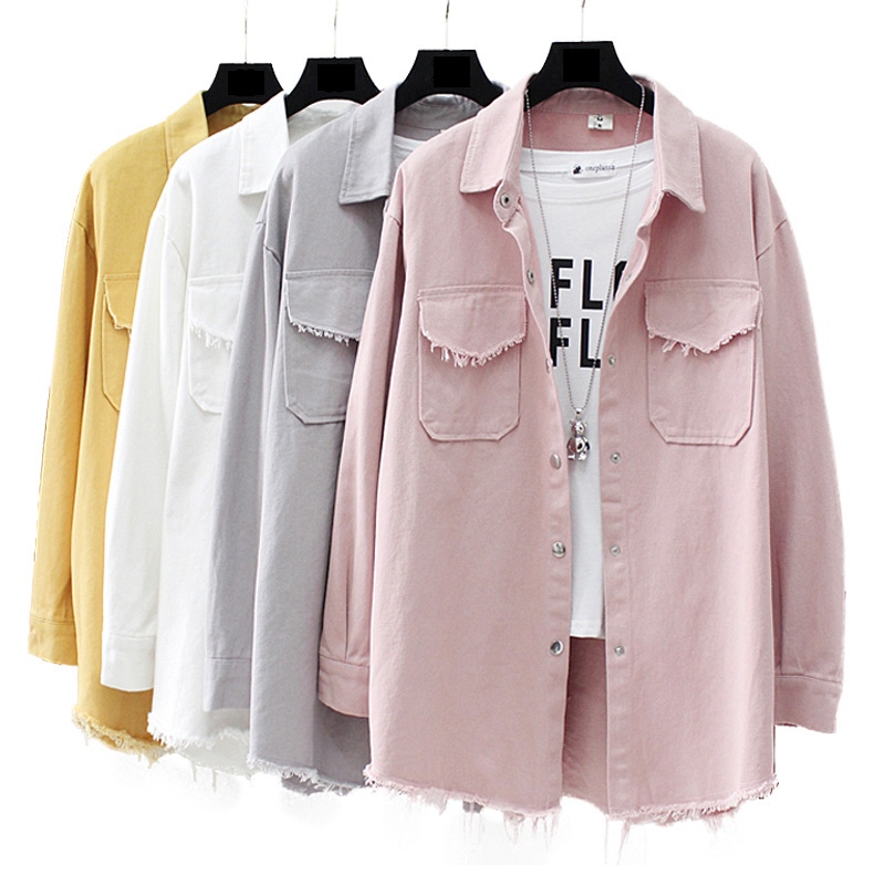 Spring Autumn New Long section lapel Tassel Denim   Jackets   women loose Casual Long Sleeve female's thin   Basic     Jacket   Coats
