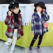 The new 2018 winter children girls leisure woolen cloth coat han edition grid kids coats fashion jacket ALI 336