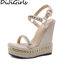 Женские богемные сандалии-гладиаторы DiJiGirls, босоножки на очень высоком каблуке, обувь из пеньковой веревки с заклепками, обувь на танкетке с...