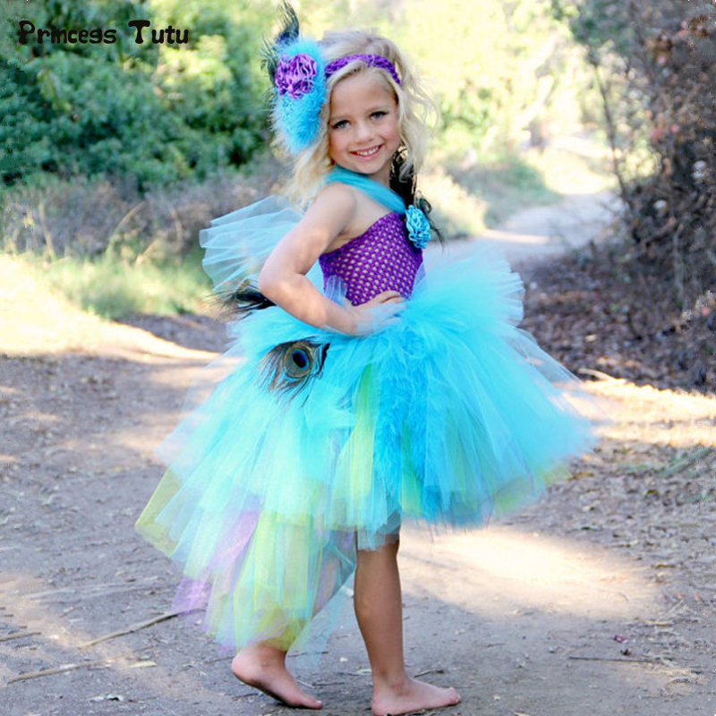 91087f72b Peacock Feather Flower Girl Tutu Dress Tail Kids Party Ball Gown Dress for  Girls Birthday Pageant Wedding Peacock Princess Dress