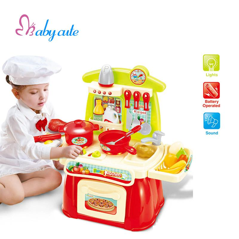 Children Kitchen Play Set Baby Kitchen Toys Set With Light Sound Pink And Red Baby