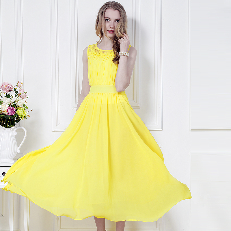 Popular Long Yellow Cheap Dress Lots