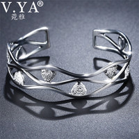 V.YA Solid 999 Sterling Silver Heart Bangle Bracelet for Women Ladies Hollow Design Women's Bangles Jewelry Bijoux