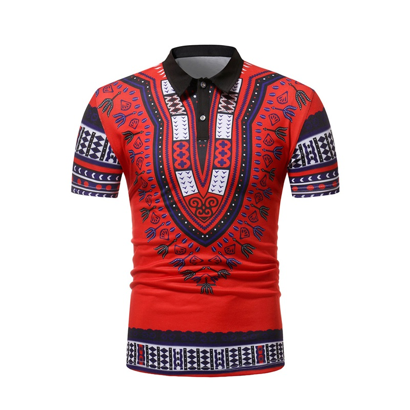 Red African Dashiki Mens   Polo   Shirt 2019 New Summer   Polo   Shirt Men Casual Slim Fit Male   Polos   Cotton Camisa   Polo   Masculina Tops