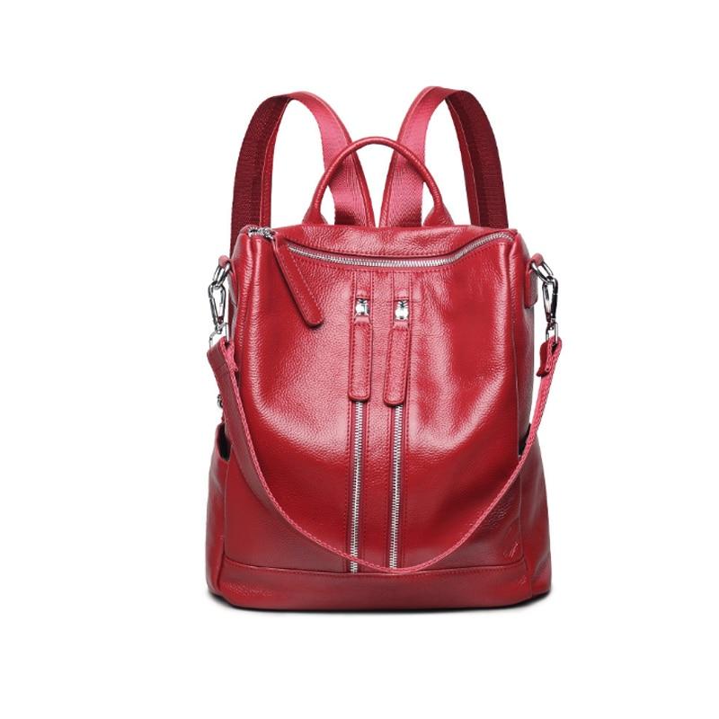Homeda New Classic Genuine Leather Women Backpacks Fashion Zipper Solid Multi-pocket Bags Z0008 2017 classic fashion new women backpacks