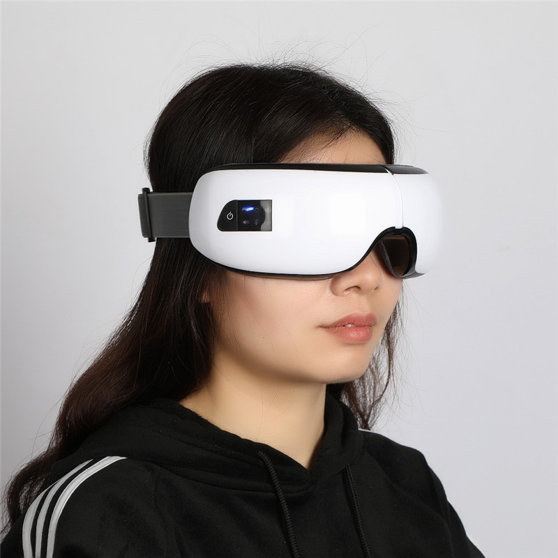 Wireless Digital Eye Massager with Heat Compression Air Pressure Music & Eye Care Stress Relief goggles masajeador de ojos 30 free shipping new air pressure eye massager with mp3 6 functions dispel eye bags eye magnetic far infrared heating eye care