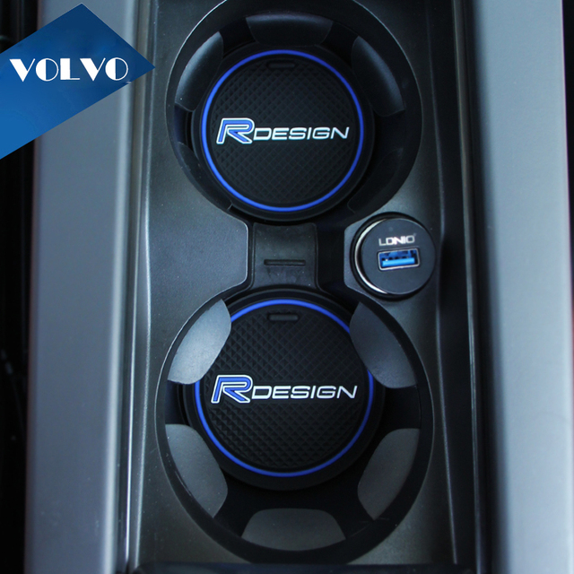 2pcs rdesign r design logo water cup anti slip mat pad stickers car interior accessories car