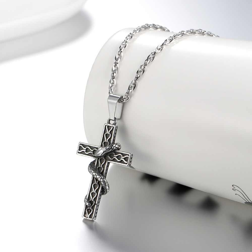 PROSTEEL Cross Snake Necklace Pendant Punk Gothic Vintage Hot Anime Jewelry