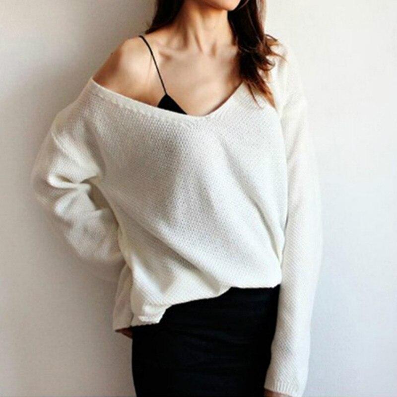 2018 Frühling Frauen Schulterfrei Pullover Jumper Pullover Pullover Volle Hülse Solide Strickpullover Frauen Rosa Multicolor Xxl